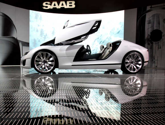 The Aero X, a concept car by Saab, is displayed at the British International Motor Show in London.