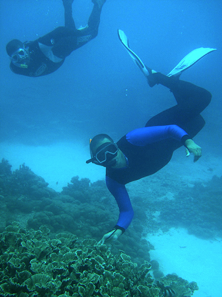 Vassen Kauppaymuthoo, an oceanographer, inspects the coral at Blue Bay Marine Reserve, south of Mauritius.