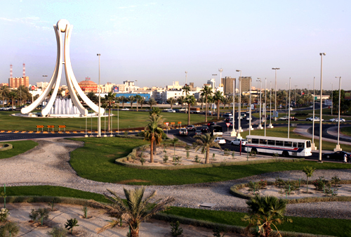 The Bahraini monument ''Pear Junction'' is seen after its new face lift in Manama.