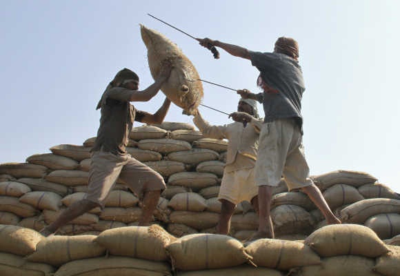 Workers lift a sack of rice to load onto a truck at a wholesale grain market in Chandigarh.