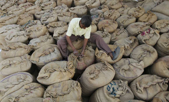 A worker ties sacks containing paddy crop at a marketplace on the outskirts of Ahmedabad.