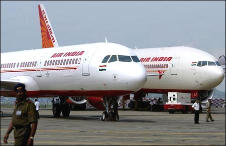 Air India's Airbus A321 (L) and Boeing 777-200 LR aircraft.