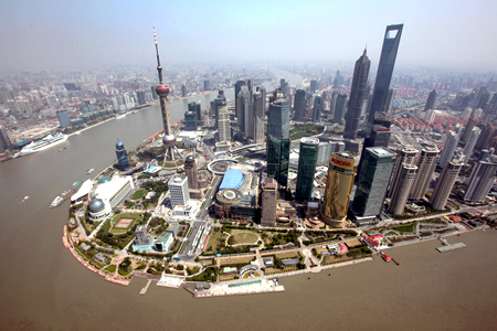 Shanghai's new financial district skyline along the Huang Pu river