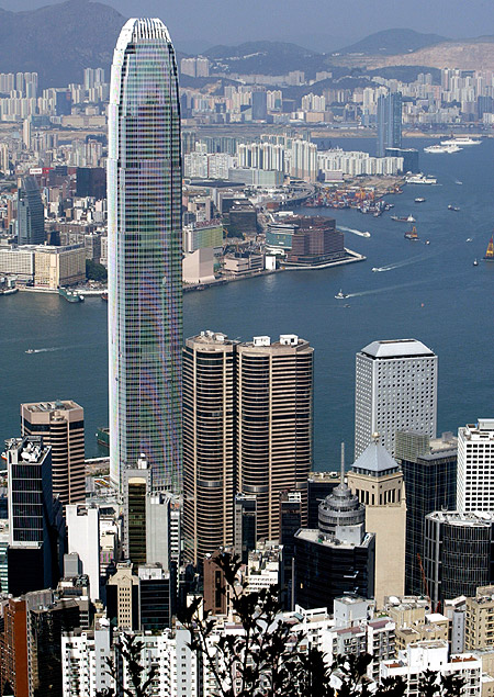 The eighty-eight storey high Two IFC, the highest building in Hong Kong