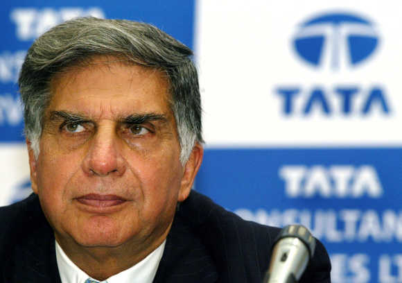 Ratan Tata, Chairman of Tata Sons, at a news conference in Mumbai.