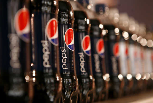 Bottles of Pepsi on display in New York.