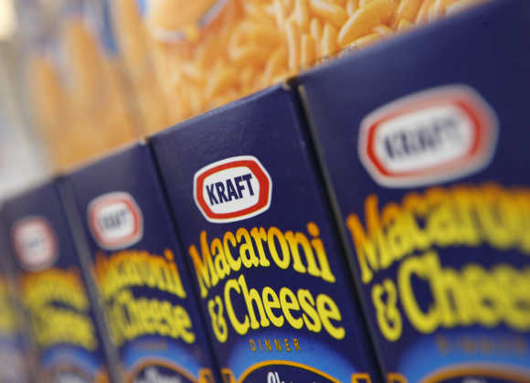Kraft Macaroni and Cheese is displayed at the company's headquarters in Northfield, Illinois, US.