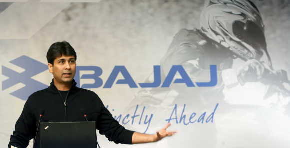 Managing Director of Bajaj Auto Rajiv speaks during a news conference in New Delhi.
