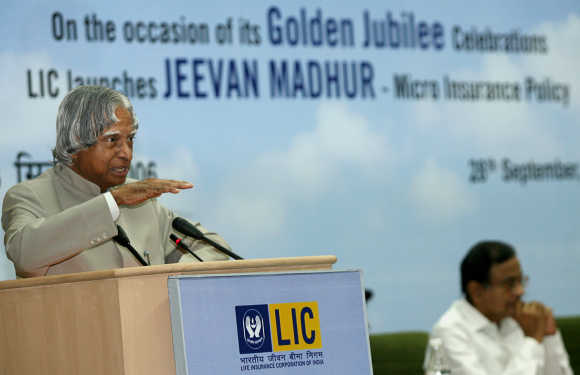 Former president Abdul Kalam speaks during the celebrations to mark the golden jubilee year of LIC in New Delhi.