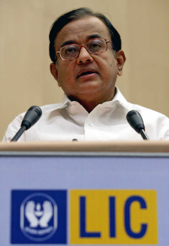P Chidambaram speaks during celebrations to mark the golden jubilee year of LIC in New Delhi.