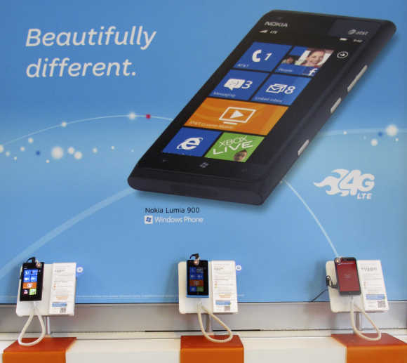 Nokia Lumia 900 cell phones are shown for sale in Carlsbad, US.
