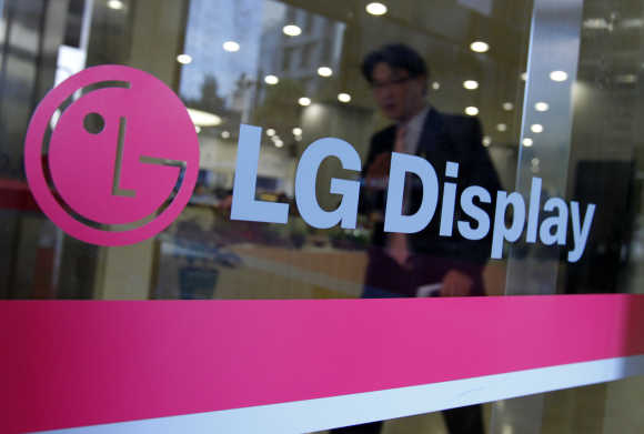 A man walks out of the headquarters of LG Display in Seoul.