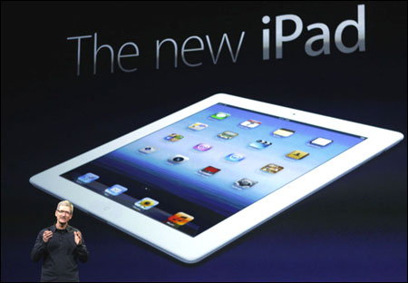 Apple CEO Tim Cook during the launch of the new iPad.