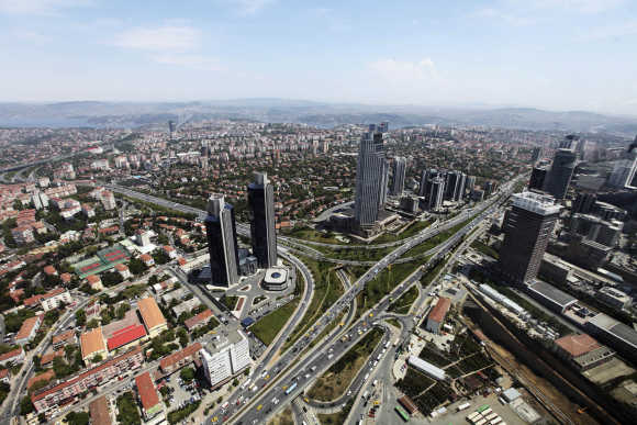 General view of Levent financial district in Istanbul.