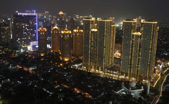 An aerial view of Indonesia's capital city Jakarta.