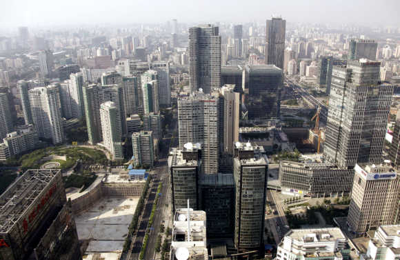Office buildings and apartments are pictured in Beijing's Central Business District.