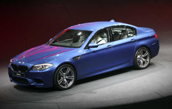 German luxury carmaker BMW presents the company's new M5 series during the International Motor Show in Frankfurt.