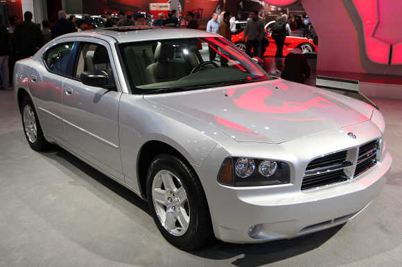 The 2006 Dodge Charger SXT is displayed at the New York International Auto Show.