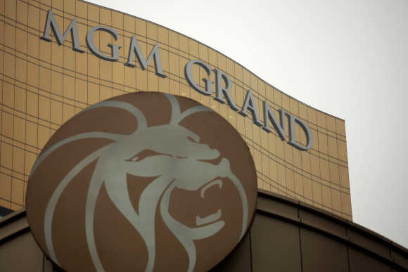 A logo of the MGM Grand Macau hotel resort is displayed outside its hotel in Macau.