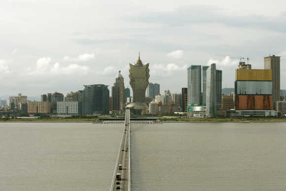 A general view shows casinos in Macau.