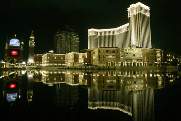 A night view of Venetian Macao Resort Hotel is seen in Macau.