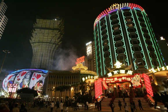 SJM's flagship casino Grand Lisboa and Casino Lisboa are seen in Macau.