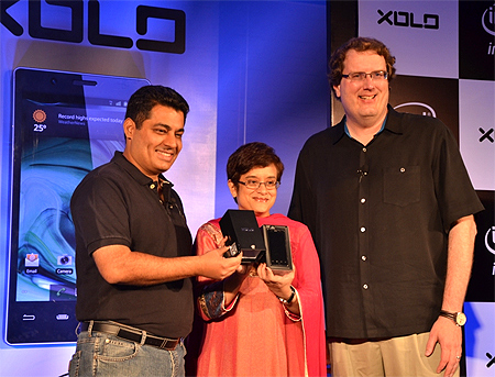Vishal Sehgal, co-founder and director, Lava International, Debjani Ghosh, managing director, Intel South Asia, and Michael A Bell at the launch.