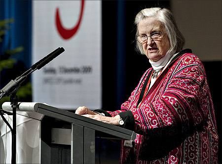 Nobel laureate in Economic Sciences Professor Elinor Ostrom speaks at Forest Day 3 in the Falconer Convention Center in Copenhagen.