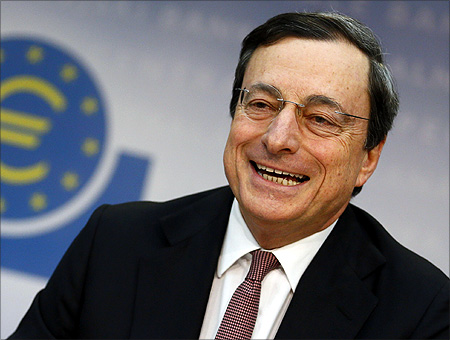 Central Bank (ECB) President Mario Draghi attends the monthly news conference in Frankfurt.