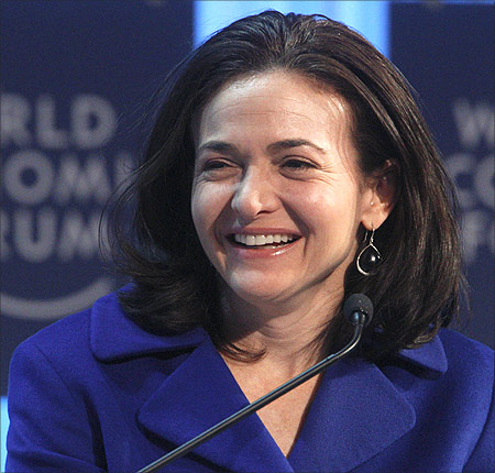 Facebook's Chief Operating Officer (COO) Sheryl Sandberg attends a session at the World Economic Forum.