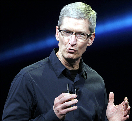 Apple CEO Tim Cook speaks on stage during an Apple event introducing the new iPad in San Francisco.