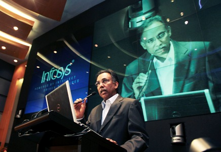 Shibulal, chief executive of Infosys, speaks during the announcement of the company's quarterly financial results in Bengaluru.