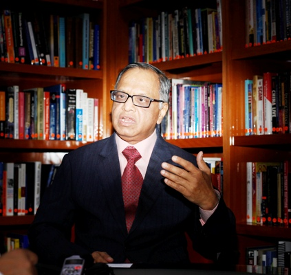 N R Narayana Murthy, Chairman Emeritus of Infosys, speaks during an interview with Reuters in Bengaluru.