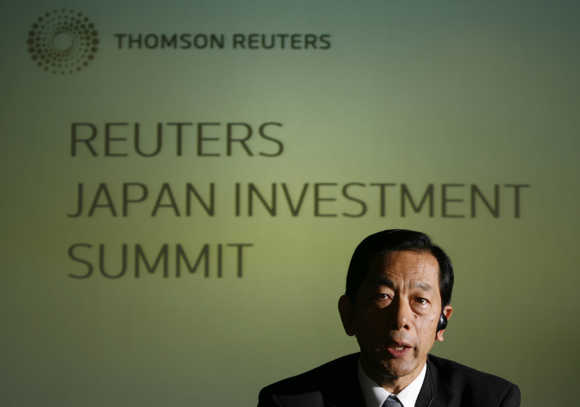 Tokio Marine Holdings President Sumi speaks at Reuters Japan Investment Summit in Tokyo.