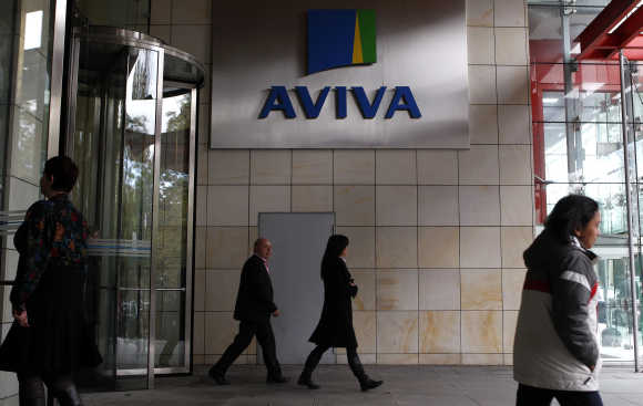 People enter the Aviva headquarters building in Dublin.