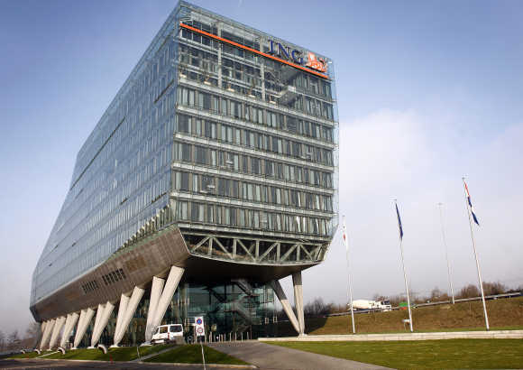 A view of the headquarters of Dutch bank and insurance group ING.