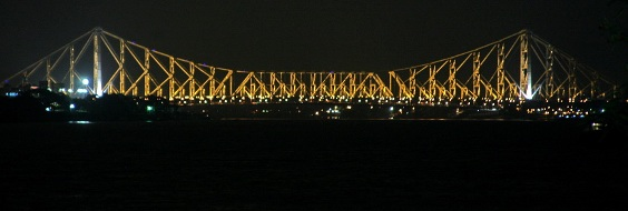 Howrah Bridge at night.