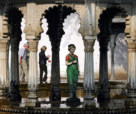 Tourists walk in 'Saheliyon-Ki-Badi' garden in Udaipur, Rajasthan.