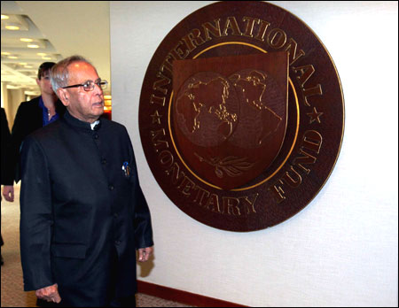 Pranab Mukherjee at the IMF headquarters.