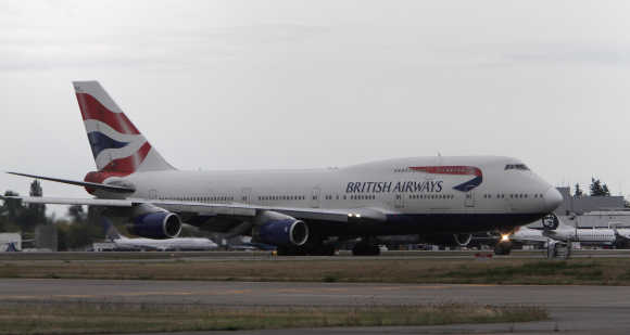 A British Airways Boeing 747 lands at Seattle-Tacoma International Airport, Washington.
