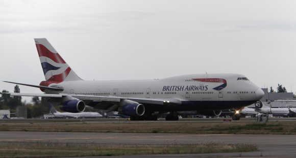 A British Airways Boeing 747 lands at Seattle-Tacoma International Airport, Washington.