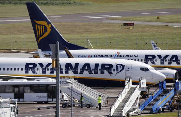 Ryanair aircraft at Edinburgh Airport in Scotland.