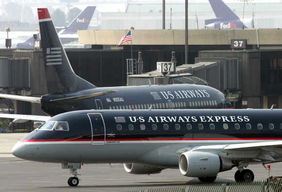A US Airways Express regional jet departs Terminal A of Newark Liberty International Airport in New Jersey.