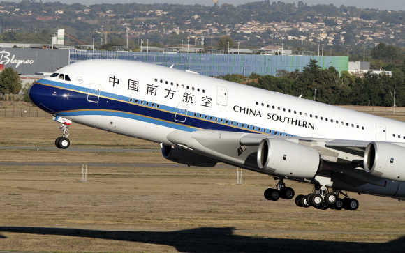 Airbus A380 of China Southern Airlines takes off from Toulouse-Blagnac Airport, near Toulouse, France.