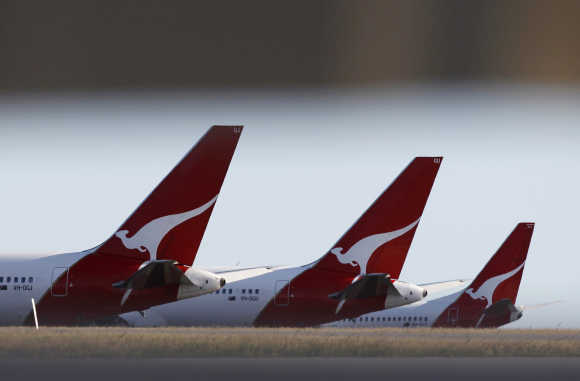 Qantas planes at Perth international airport.