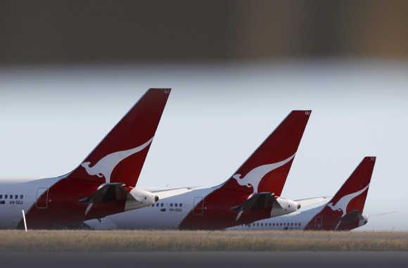 Qantas planes at Perth international airport.