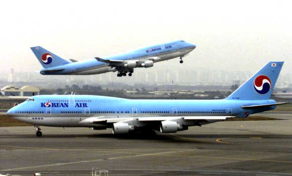 A Korean Air plane takes off at Kimpo International Airport in Seoul.