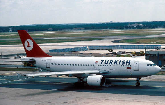 A Turkish plane at Frankfurt's Rhein-Main airport.