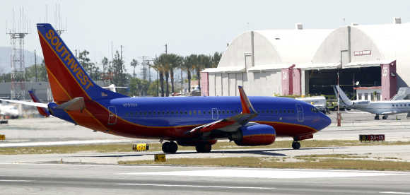 A Southwest Airlines 737-700 taxis at Bob Hope Airport in Burbank, California.