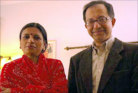 Kaushik Basu with wife Alaka.